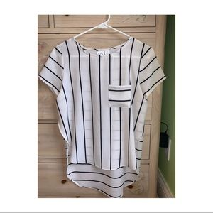 BP white & black striped blouse with front pocket